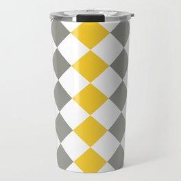 Gray and yellow square pattern Travel Mug