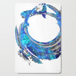 Blue and White Contemporary Art - Swirling 2 - Sharon Cummings Cutting Board