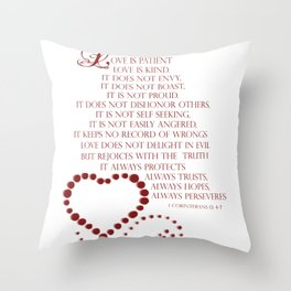 Love is patient love is kind 1 Corinthians 13: 4-7 Throw Pillow