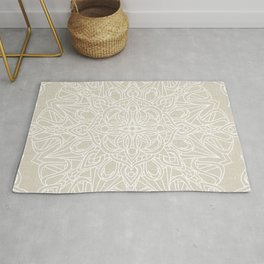 White Lace Mandala on Antique Ivory Linen Background Rug