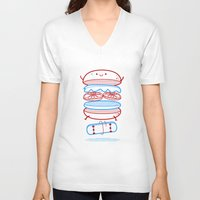 street V-neck T-shirts featuring Street burger  by SpazioC