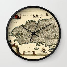 Map Of Brittany 1636 Wall Clock