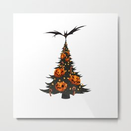 Halloween Christmas Tree - White Metal Print