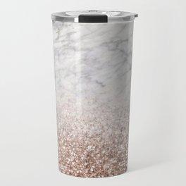 Bold ombre rose gold glitter - white marble Travel Mug