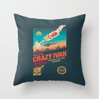 danny ivan Throw Pillows featuring Crazy Ivan by Victor Vercesi