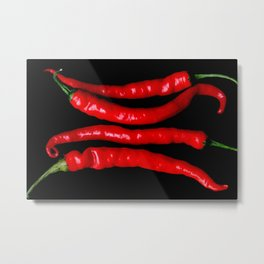 Four Red Chilies Metal Print