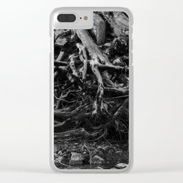 Black and White Tree Root Photography Print Clear iPhone Case
