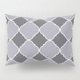 Pantone Lilac Gray Ornamental Moroccan Tile Pattern with White Border Pillow Sham
