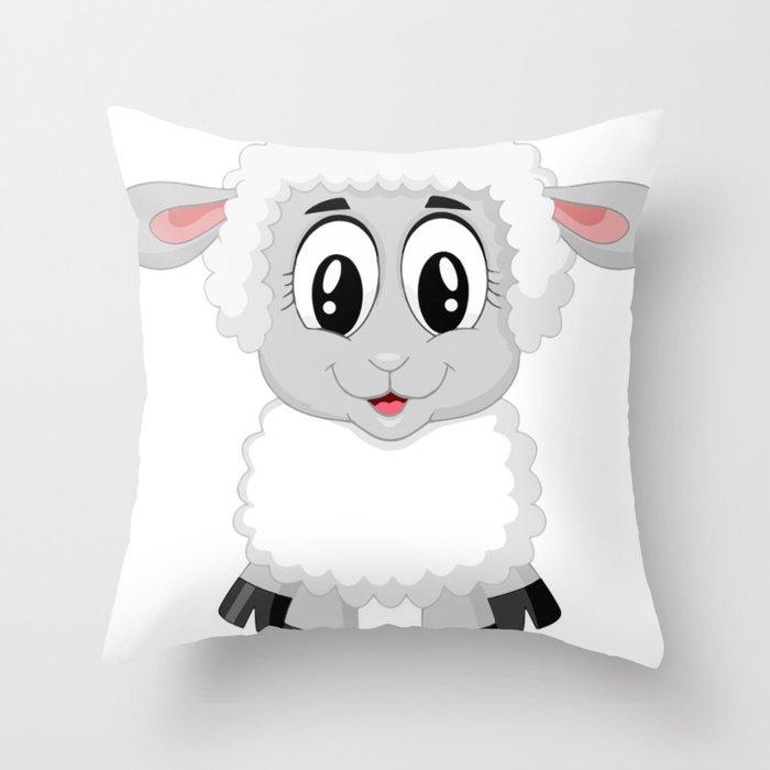 Cute Lamb Sheep Throw Pillow