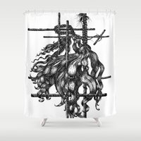 hair Shower Curtains featuring Hair by Veronika Neto