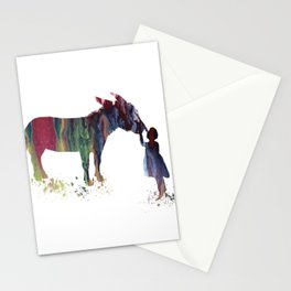 donkey and child art Stationery Cards