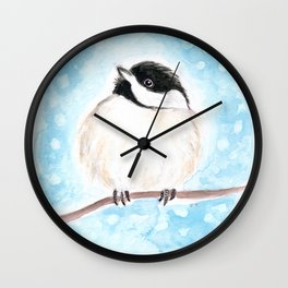 Cute Chickadee Watercolor Wall Clock