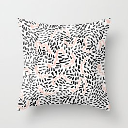 Helena - black white rose quartz abstract squiggle dot mark making painting brushstrokes minimal  Throw Pillow