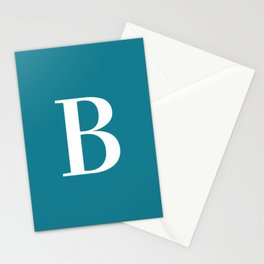 Teal and White Initial Letter B Monogram Stationery Cards