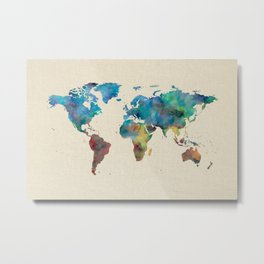World Map Watercolor Linen Blue Red Yellow Green Metal Print