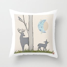 Forest Silouhettes, a Moonage Daydream Throw Pillow