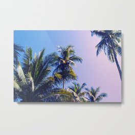 Pink Blue Tropical Island Sunset Landscape with Palm Trees Metal Print