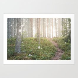 Snow falling in forest at spring day Art Print