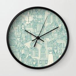vintage halloween teal ivory Wall Clock