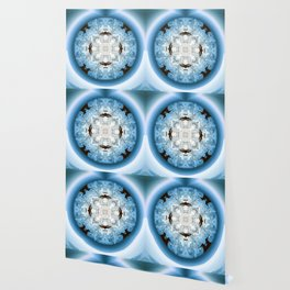 Art Deco Hub Cap in Blue Wallpaper