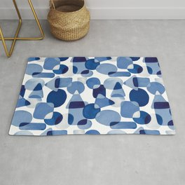 Blue Watercolour Geometric Rug