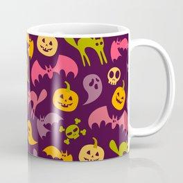 Neon Halloween Pattern - Purple Background Coffee Mug