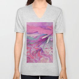 Loud Silence Glitched Fluid Art Unisex V-Neck