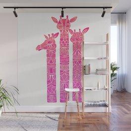 Giraffes – Pink Ombré Wall Mural