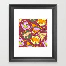 Nineties Dinosaur Pattern version 2. Framed Art Print