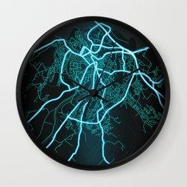 Inverness, Scotland, Blue, White, Neon, Glow, City, Map Wall Clock