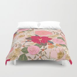 Elegant Golden Strokes Colorful Winter Floral Duvet Cover