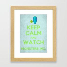 Keep Calm and Watch Monsters Inc. Framed Art Print