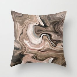 Brown beige watercolor marble Throw Pillow