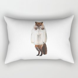 Red Fox In a White Fur Coat Rectangular Pillow