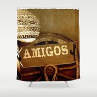 mexican Shower Curtains featuring Mexican by laika in cosmos