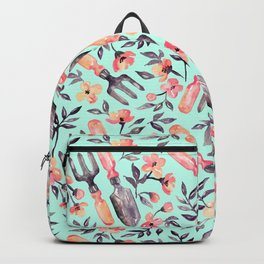 Spring Gardening - peach blossoms on mint Backpack