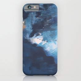 Ships in the Night: a vibrant abstract mixed-media piece in blues and golds by Alyssa Hamilton Art iPhone Case