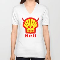 hell V-neck T-shirts featuring HELL by karmadesigner