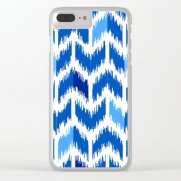 IKAT pattern, indigo blue and white, 05 Clear iPhone Case