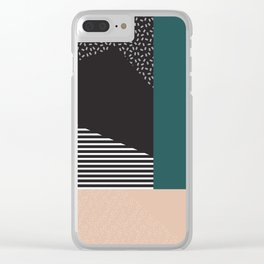 Mixture Abstract - Black Green Tan Clear iPhone Case