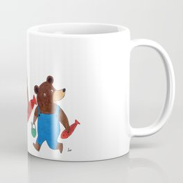 Papa Bear and Little Bear Going for a Picnic - Children's Illustration Coffee Mug