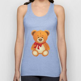 Teddy bear with red bow Unisex Tank Top