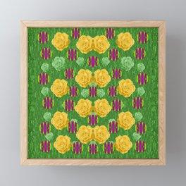 roses dancing on a tulip field of festive colors Framed Mini Art Print