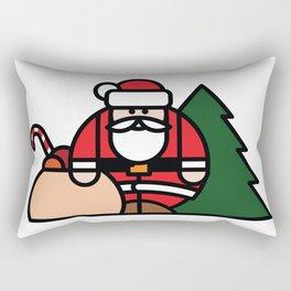 Santa Claus, bag of toys and Christmas tree Rectangular Pillow