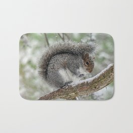 Gray Squirrel Curling Its Tail in a Snowstorm Bath Mat