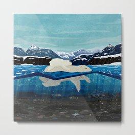 Polar bear mom and Cub Swimming  Metal Print