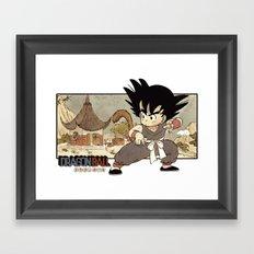 Son Goku On Mt. Paozu Framed Art Print
