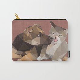 Low Poly German Shepard Puppy and Cat Carry-All Pouch