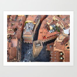 Panoramic Breathtaking View from the Asinelli Tower in Bologna Art Print