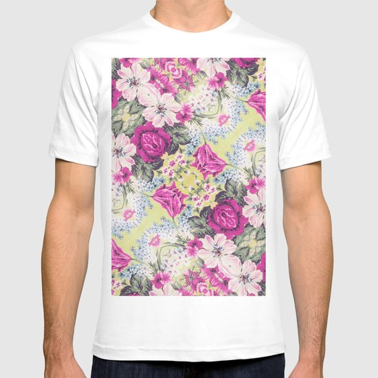 Trendy Vintage Purple Teal Floral Fashion Pattern T-shirt